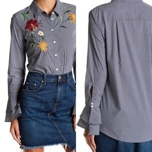 14th & Union Long Sleeve Floral Embroidered Blouse